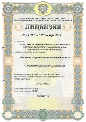 Лицензия на услуги связи по передаче данных от 28 ноября 2013г.